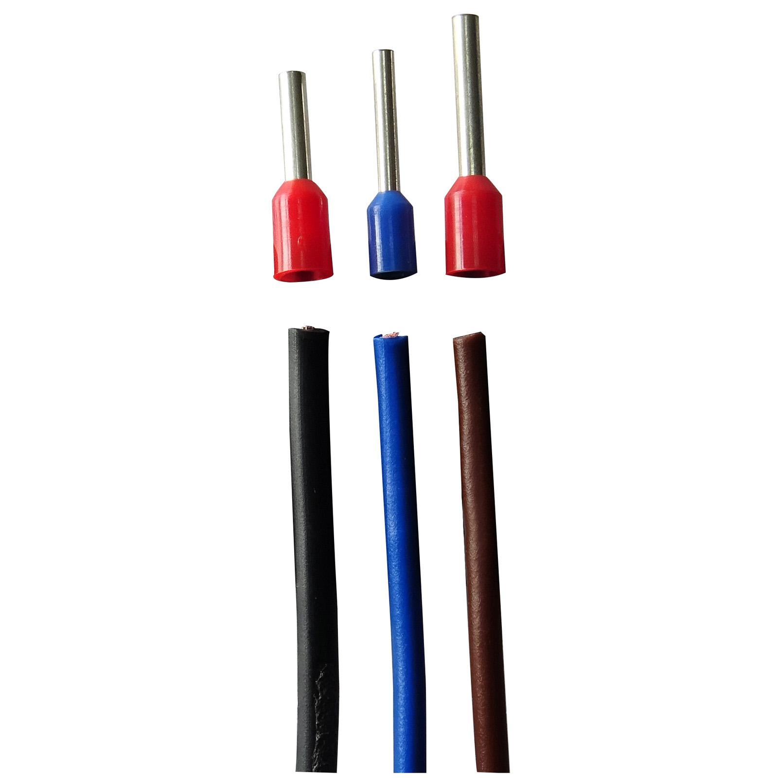 Przewody przed zaciśnięciem tulejek w Tulejkownicy 0,5-2,5mm2 BZW-F2.5+Z