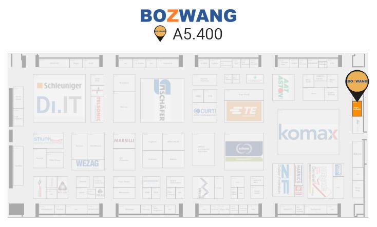 Lokalizacja stoiska firmy Bozwang - producent maszyn do obróbki przewodów - na targach productronica